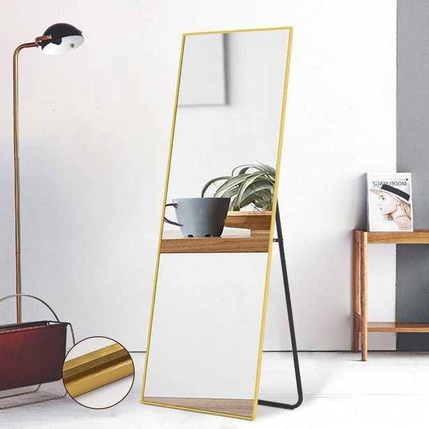 64 in. x 21 in. Modern Rectangle Metal Framed Gold Full Length Floor Mirror Standing Mirror - Home Depot