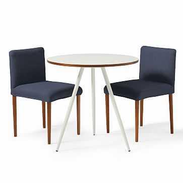 Wren Bistro Table + 2 Ellis Chairs Set, White/Indigo - West Elm