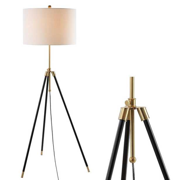 "Lucius 67"" Black/Brass Adjustable Metal LED Floor Lamp - Home Depot"