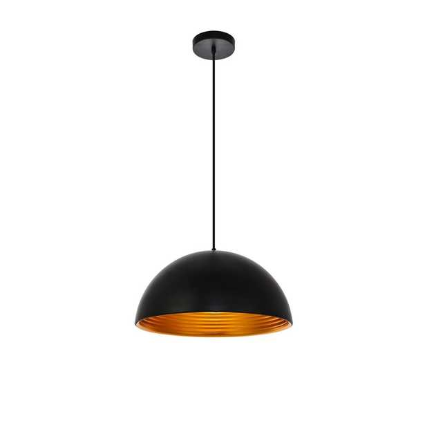 ELEGANT FURNITURE & LIGH Timeless Home Chloe 1-Light Black Pendant with 11.5'' in. W x 6.5'' in. H Black Aluminum Shade - Home Depot