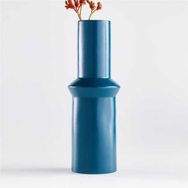 Percy Teal Ceramic Vase - Crate and Barrel