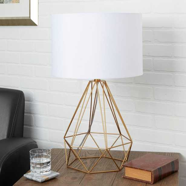 Silverwood Celeste 26 in. Gold Table Lamp with Linen Shade - Home Depot