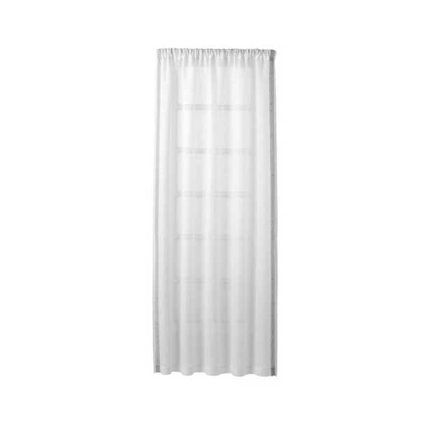 """Bordered White Sheer Linen Curtain Panel 52""""x84"""" - Crate and Barrel"""