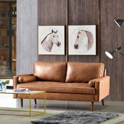 69.68'' Wide Faux Leather Square Arm Sofa - Wayfair