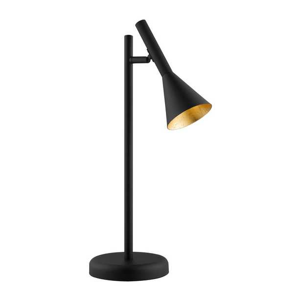 Eglo Cortaderas 18.50 in. Black Table Lamp with Black/Gold Metal Shade - Home Depot