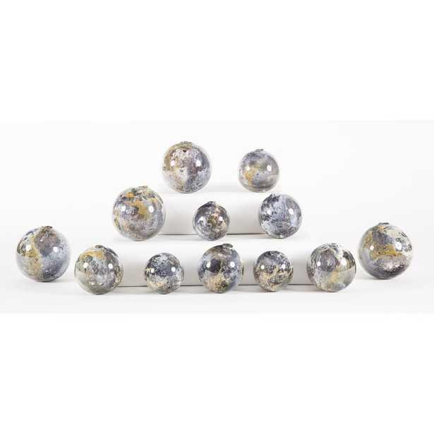 Prima Design Source 12 Piece Hand Blown Glass Balls Decorative Spheres Sculpture Set - Perigold