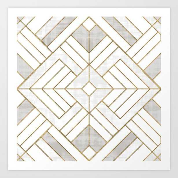 Lennox Vintage Deco - White & Gold Art Print by Crystal W Design - MEDIUM - Society6
