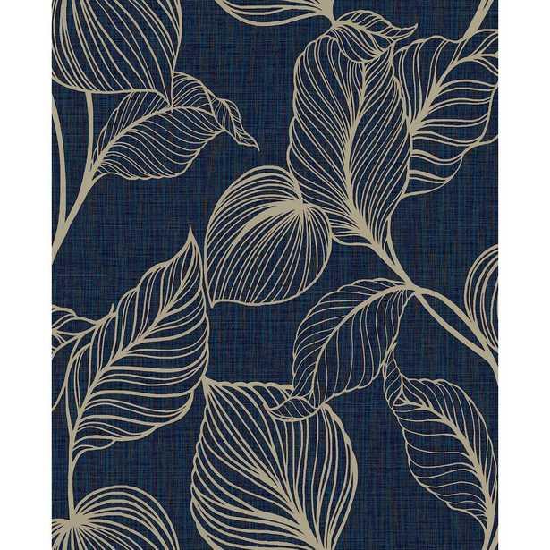 "Boutique Royal Palm Sapphire Unpasted Removable Peelable Wallpaper, Blue - PER ROLL 33' L x 20.5"" W - Home Depot"