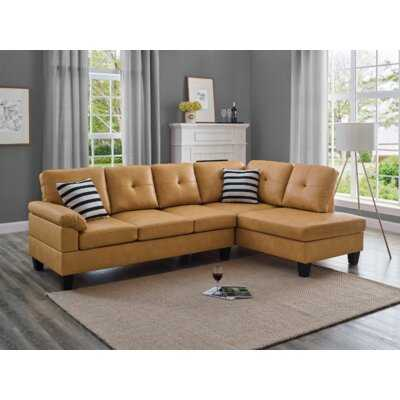100'' Faux Leather Right Hand Facing Sofa & Chaise - Wayfair