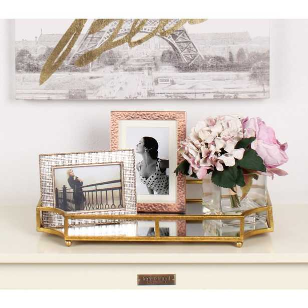 Kate and Laurel Ciel Gold Decorative Tray - Home Depot