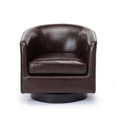 "Cathy 28.5"" W Top Grain Leather Swivel Barrel Chair - Wayfair"