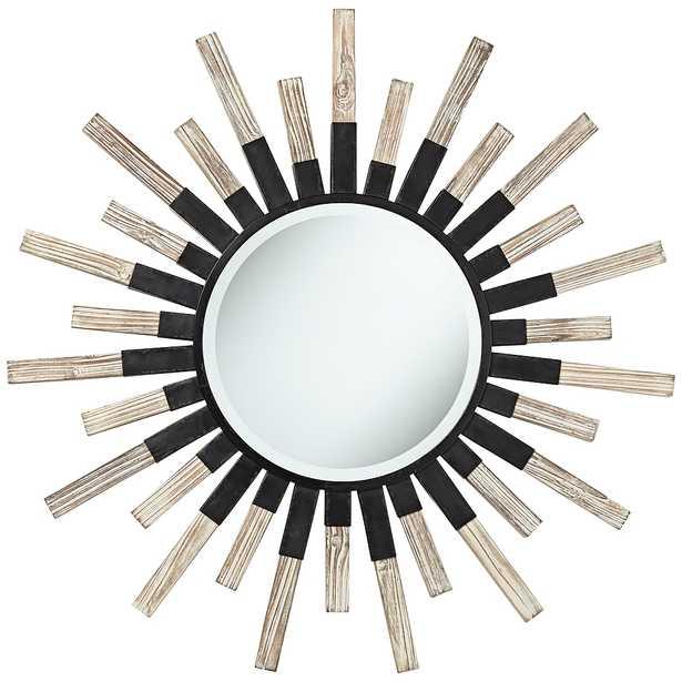 "Mallie 42"" Round Black Metal Whitewash Sunburst Wall Mirror - Style # 76G94 - Lamps Plus"