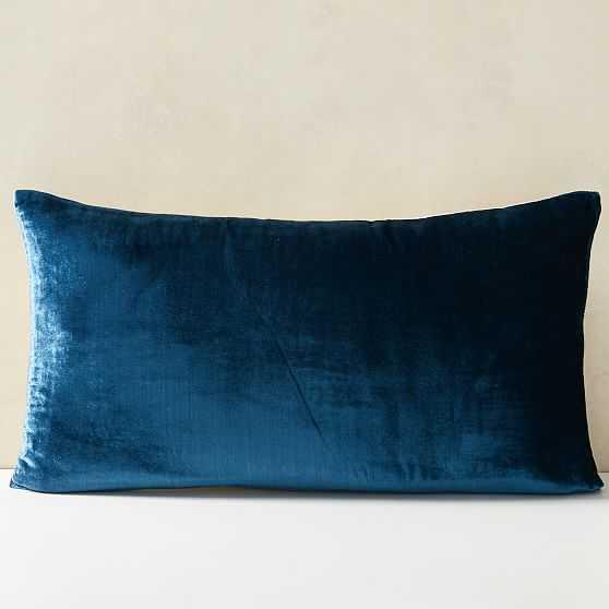 "Lush Velvet Pillow Cover, Regal Blue, 14""x26"" - West Elm"