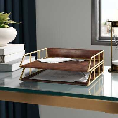 Aaryahi Stacked Metal and Faux Leather Letter Trays - Wayfair