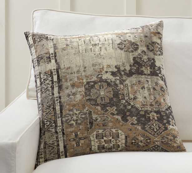 """Zayden Printed Velvet Pillow Cover, 22 x 22"""", Gray Multi - Pottery Barn"""