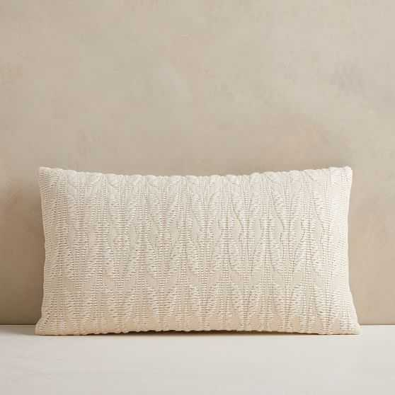 """Mariposa Pillow Cover, 12""""x21"""", White - West Elm"""