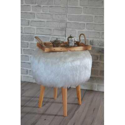 White Round Pouf Faux Fur - Wayfair