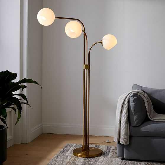 Staggered 3 Light Adjustbale Floor Lamp, Milk & Antique Brass - West Elm
