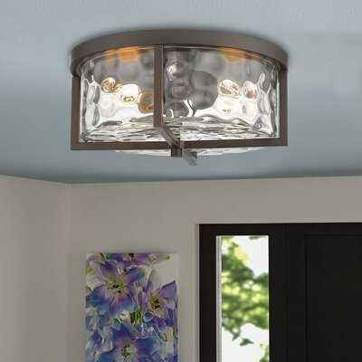 "13"" Flush Mount Lights, 2-Lights Interior Exterior Ceiling Lights Fixture, Antique Bronze Finish With Clear Hammered Glass - Wayfair"
