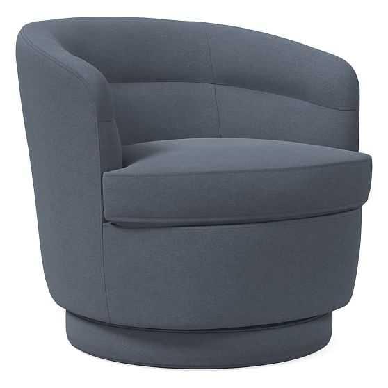 Viv Swivel Chair, Performance Velvet, Corn Flower, Concealed Support - West Elm