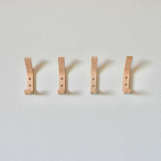 Modern Home Wooden L-Shaped Double Wooden Wall Hook, Natural, Set Of 4 - West Elm