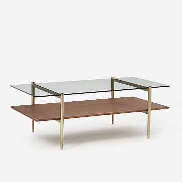 "Art Display Coffee Table, 46"", Walnut, Antique Brass - West Elm"