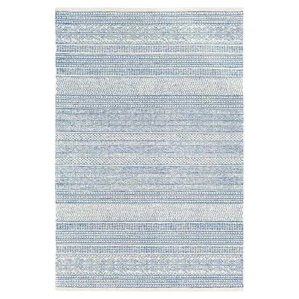 Selena Global Bazaar Blue Woven Wool Patterned Rug - 8' x 10' - Kathy Kuo Home