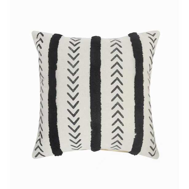 LR Home Herringbone Black / Cream Chevron Tufted Striped Cozy Poly-fill 20 in. x 20 in. Throw Pillow - Home Depot