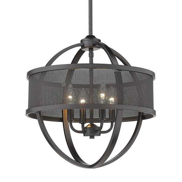 Golden Lighting Colson 4-Light Matte Black Globe Chandelier - Home Depot
