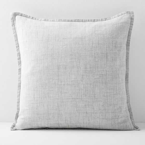 """European Flax Linen Pillow Cover, 20""""x20"""", Frost Gray Fiber Dye - West Elm"""