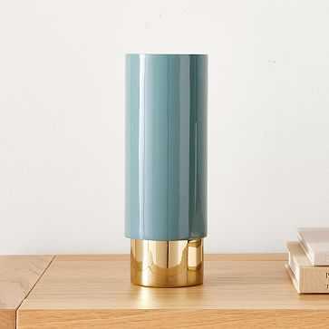 Brass and Enamel Tube Vase Large, Ocean - West Elm