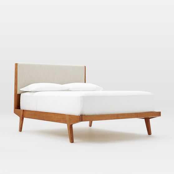 Modern Bed, Queen, Linen Weave, Natural - West Elm