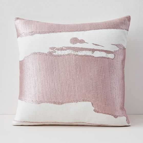 """Ink Abstract Pillow Cover with Down Alternative Insert, Adobe Rose, 20""""x20"""" - West Elm"""