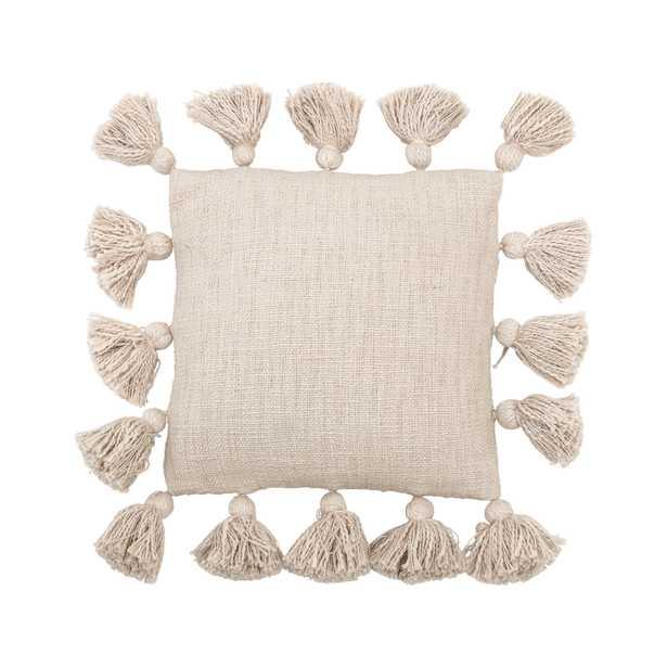 Mini Square Cream Cotton Pillow with Tassels - Moss & Wilder