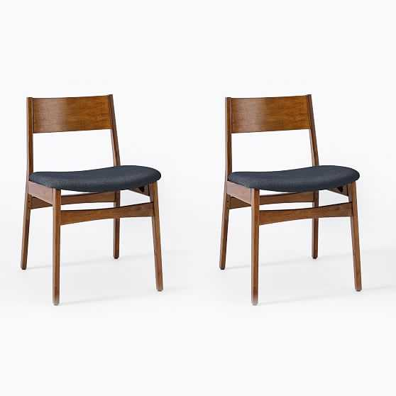 Baltimore Dining Chair, Basket Slub, Midnight, Walnut - West Elm