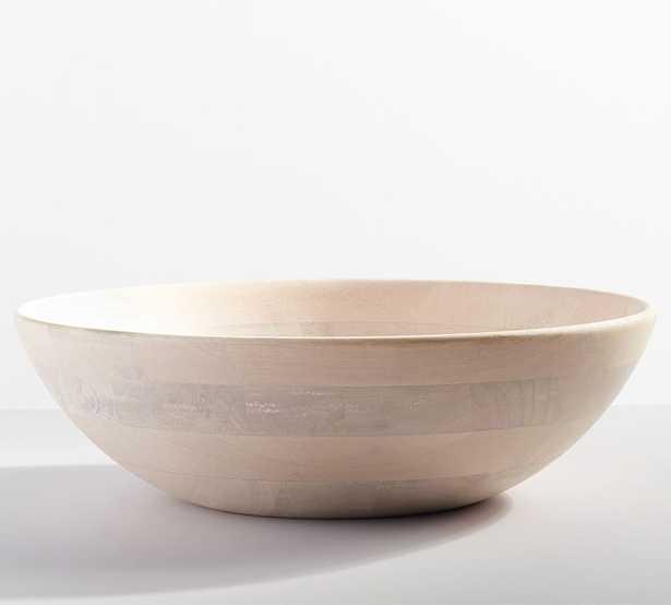 "Chateau Acacia Wood Bowl, XL 20"", White Washed - Pottery Barn"