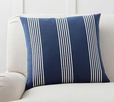"""Ziri Reversible Stripe Pillow Cover, 20"""", Blue Multi - Pottery Barn"""