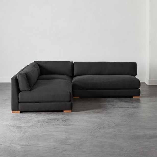 Piazza Dark Grey 3-Piece Modular Double Apartment Sofa Sectional - CB2