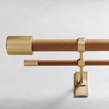 "Mid-Century Double Rod, Wood/Brass, 28""-48"" - West Elm"