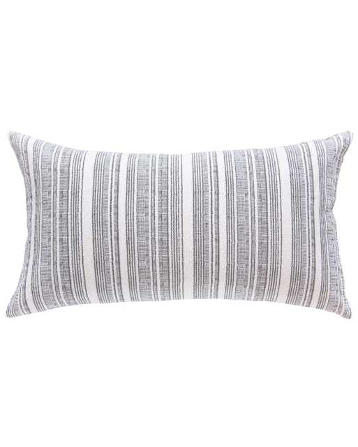 hmong striped large lumbar pillow in cream with grey - with insert - PillowPia