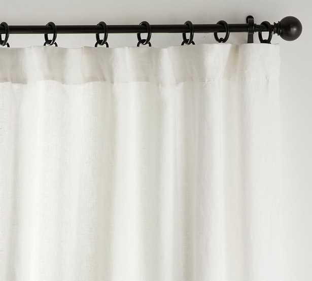 "Custom Classic Belgian Flax Linen Rod Pocket Blackout Curtain, 48 x 110"", Classic Ivory - Pottery Barn"