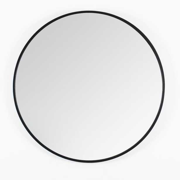 """Madeleine Home Vasto Black Scandinavian Handcrafted Wall Mirror - Round (24"""") - Home Depot"""