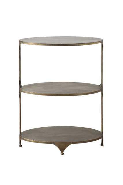 Antique Gold Oval Metal 3-Tier Shelf/Side Table - Nomad Home