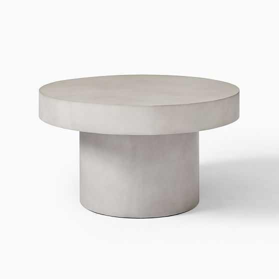 "Round Pedestal Coffee Table, 30"", Concrete - West Elm"