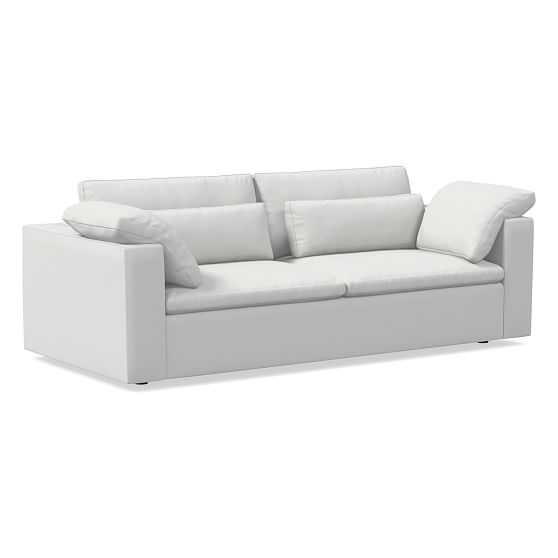 """Harmony Modular 92"""" Sofa, Down, Performance Washed Canvas, Stone White, Concealed Supports - West Elm"""