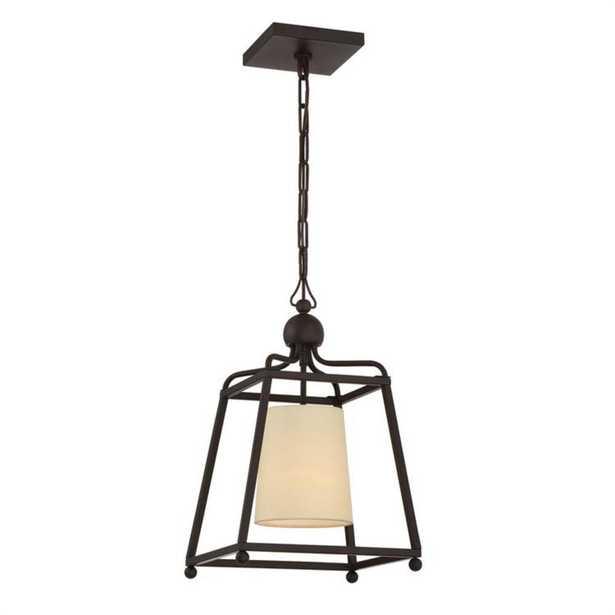 Crystorama Sylvan 1-Light Bronze Pendant with Silk Shade - Home Depot