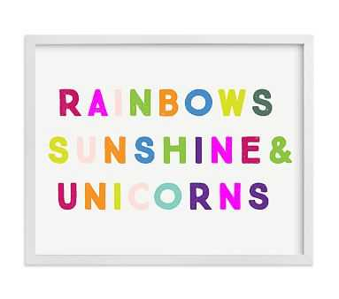 Minted(R) Sunshine Rainbows & Unicorns Wall Art by Lori Wemple; 14x11, White - Pottery Barn Kids