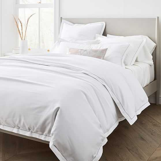 400Tc Sateen Embroidered White, King & King Sham - West Elm