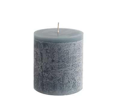 """Scented Timber Pillar Candles, Flint Blue, Blackberry Yuzu, 4"""" x 4.5"""" - Pottery Barn"""
