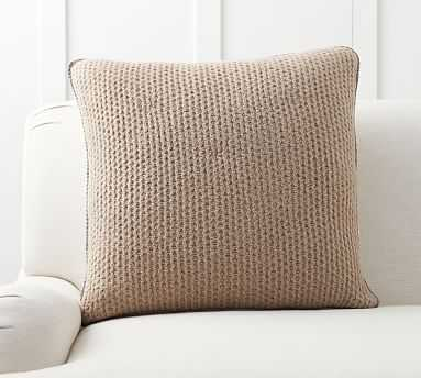 """Thermal Knit Sherpa Back Pillow Cover, 24"""", Heathered Khaki - Pottery Barn"""